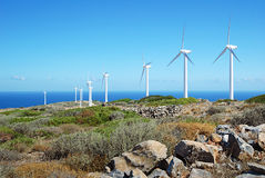 Wind turbines on Crete Royalty Free Stock Photo