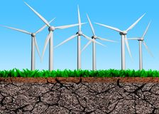 Wind turbines on grass dry soil cross section, 3D illustration Royalty Free Stock Photo