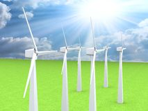 Wind turbines, 3d render Stock Images