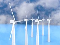 Wind turbines, 3d render Stock Image