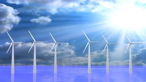 Wind turbines, 3d render Stock Photography