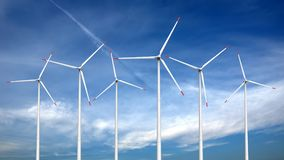 Wind turbines. 3d render of wind turbines on sky background Royalty Free Stock Photography
