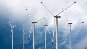 Wind turbines. 3d render of wind turbines on sky background Stock Image