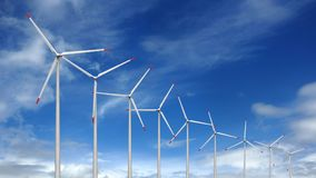 Wind turbines. 3d render of wind turbines on sky background Royalty Free Stock Image