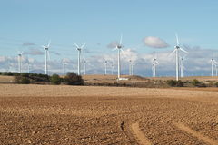 WIND TURBINES ON DESERT Stock Images