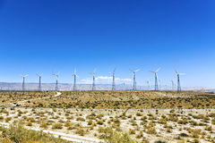 Wind turbines in the desert of California Stock Images