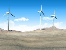 Wind turbines in a desert Stock Photography