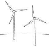 Wind turbines. A device for producing electricity. Wind turbines in the style of the line. Stock Photo