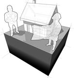 Detached house with architect and customer diagram Royalty Free Stock Image