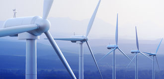 Wind Turbines with distant mountains. Wind turbine farm against distant mountains (3d graphic Stock Photography