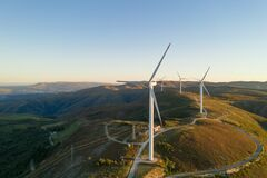 Free Wind Turbines Drone Aerial View Renewable Energy On The Middle Of Serra Da Freita Arouca Geopark, In Portugal Stock Photography - 214836072