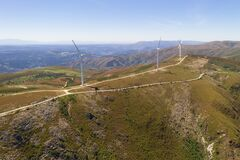 Free Wind Turbines Drone Aerial View Renewable Energy On The Middle Of Serra Da Freita Arouca Geopark, In Portugal Royalty Free Stock Photography - 214837527