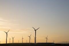 Wind Turbines at Dusk, Aragon Stock Image