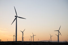 Wind Turbines at Dusk, Aragon. Spain Royalty Free Stock Image