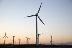 Wind Turbines at Dusk, Aragon Royalty Free Stock Photos