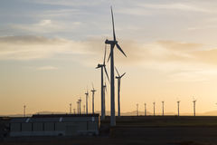 Wind Turbines at Dusk, Aragon. Spain Royalty Free Stock Photography