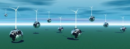 Wind turbines on earth Stock Image