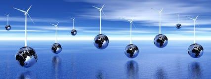 Wind turbines on earth Stock Photos