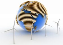 Wind turbines and earth Stock Photography