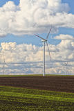 Wind turbines eco renewable energy production Royalty Free Stock Photo