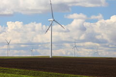 Wind turbines eco renewable energy production Royalty Free Stock Photography