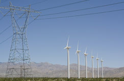 Wind Turbines and Electrical Transmission Tower Stock Images