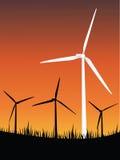 Wind turbines energy. Illustration of wind turbines new energy Royalty Free Stock Image