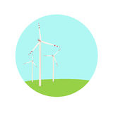 Wind turbines energy farm color blue green icon Stock Photography