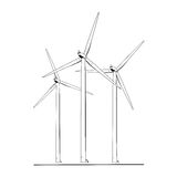 Wind turbines energy farm isolated black white. Wind tubines renewable ecological energy production concept. Power plant windmill generator with rotating wing Stock Images
