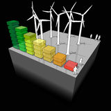 Wind turbines with energy rating diagram Royalty Free Stock Photo
