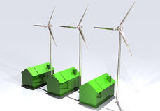 Wind turbines and energy-saving houses Royalty Free Stock Photo