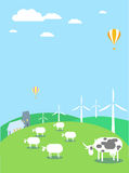 Wind turbines and environment. The vector picture. EPS 8 Royalty Free Stock Photos