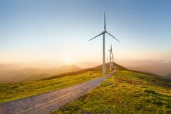 Wind turbines. In eolic park stock photography