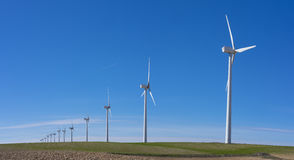 Wind turbines in eolic park. Wind turbines in eolic park, Aragon, Spain Royalty Free Stock Photo