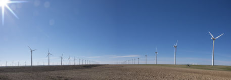 Wind turbines in eolic park Stock Photo