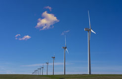 Wind turbines in eolic park. Aragon, Spain Royalty Free Stock Image