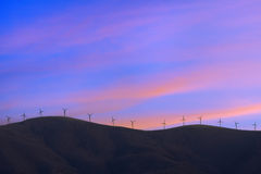 Wind turbines in eolic park on mountains Royalty Free Stock Photography