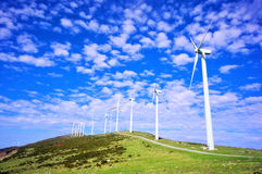 Wind turbines in eolic park Royalty Free Stock Image