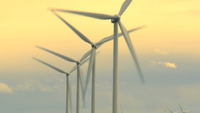 Wind turbines with evening shy stock video footage