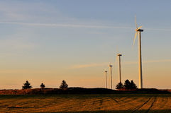 Wind turbines in the evening sun Stock Photography