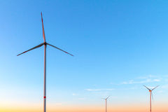 Wind Turbines in the Evening Sun. Wind Turbines in the evening in high summer August Germany Stock Image