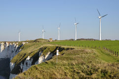 Wind turbines at Fécamp in France Royalty Free Stock Photos