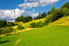Wind turbines farm Royalty Free Stock Image