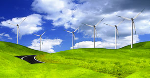 Wind turbines farm Stock Photo
