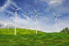 Wind turbines farm Stock Photos