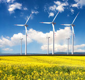 Wind turbines farm Royalty Free Stock Images