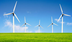 Wind turbines farm. Royalty Free Stock Photography
