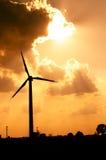 Wind turbines farm. Wind turbine farm at sunset Stock Photos
