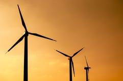 Wind turbines farm. At sunset Royalty Free Stock Photos