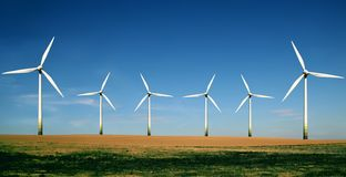 Wind turbines farm royalty free stock photo